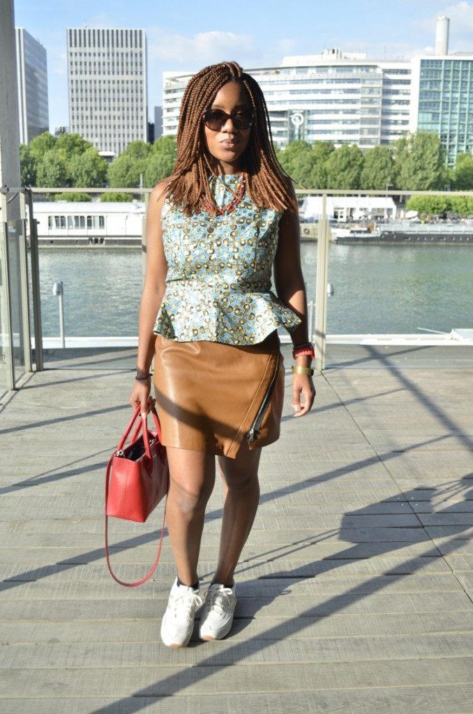 Top Empire en wax & jupe camel en similicuir
