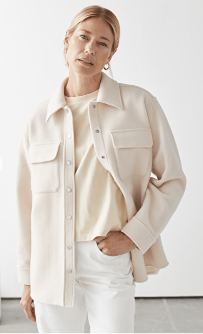 essentiel mode sur-chemise and other sorties oversized wool shirt